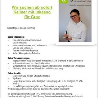 Kellner mit Inkasso (m/w) für Graz gesucht - thumb