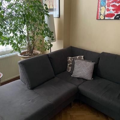 Großes Sofa/L-Form in Schokobraun, 100 EUR - thumb