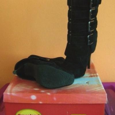 Neu Velour Stiefel (High Heels) Gr: 38 - thumb