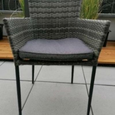 6 Gartenstühle Polyrattan grau braun stapelbar - thumb