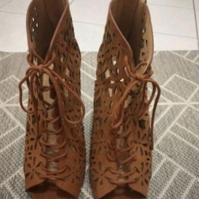Schöne braune High Heels, Gr. 39 - thumb