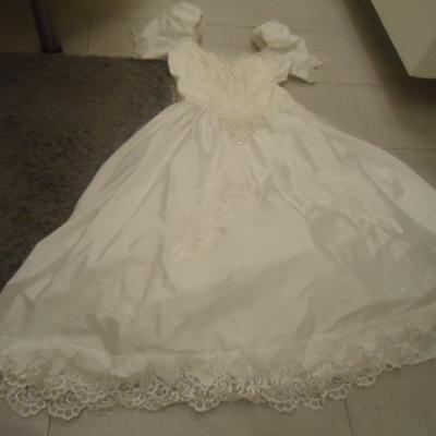 Brautkleid mit Puffärmel und Reifenrock, weiß, Gr - thumb