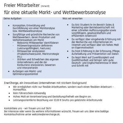 Freier Mitarbeiter (m/w/d)  für eine Markt- und Wettbewerbsanalyse - thumb