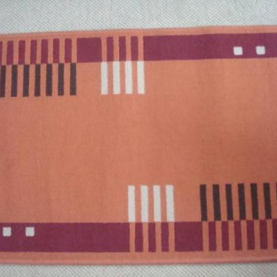 2 Stk.Webteppiche orange 112/64 cm modernes Muster - thumb