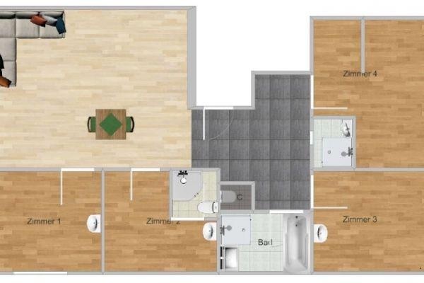 2 WG Zimmer in 150m² Wohnung frei