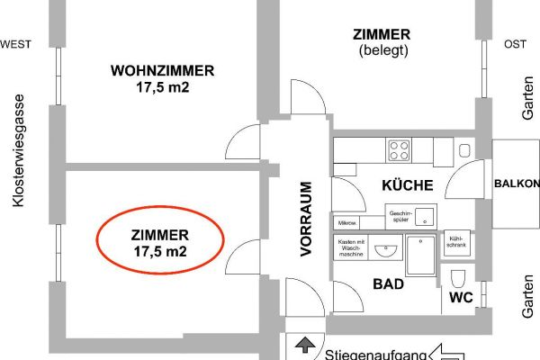 WG-Zimmer in zentraler 70 m²-Wohnung zu vermieten
