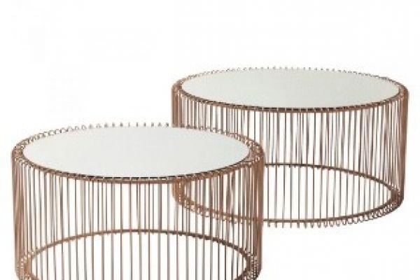 Eleganz Couchtisch - Set, Wire Cooper in Kupfer