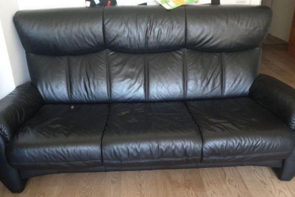 4-teiliges Sitzgarnitur (Echtleder, schwarz)